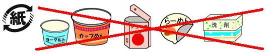 紙製容器包装識別マークがついていても、アルミ箔加工されているもの、防水加工がされているもの、臭いがついているものなどは、資源物として出すことができません。